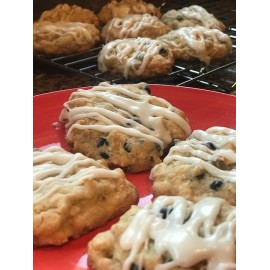 Blueberry Lemon Glazed Streusel Cookies